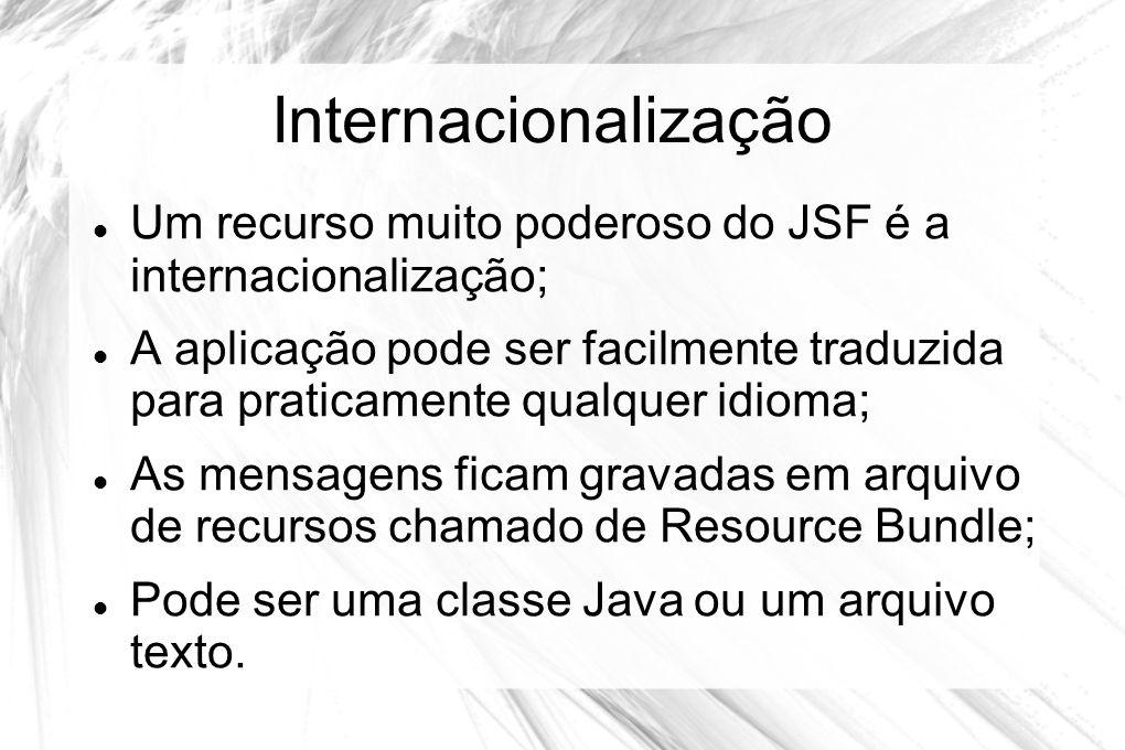 Internacionalização  Um recurso muito poderoso do JSF é a internacionalização;  A aplicação pode ser facilmente traduzida para praticamente qualquer
