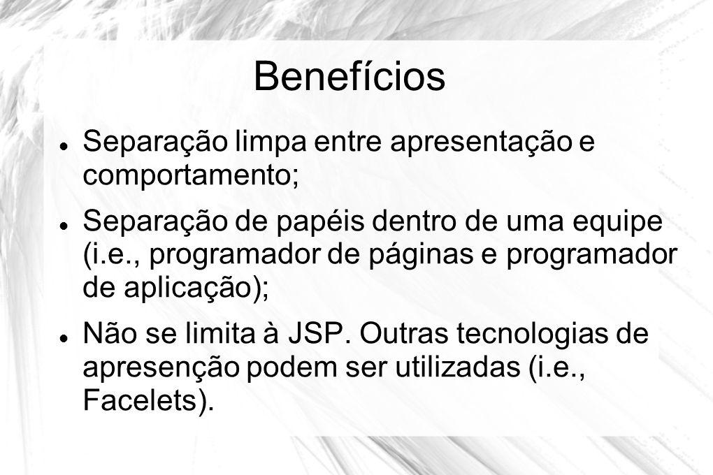 Benefícios  Separação limpa entre apresentação e comportamento;  Separação de papéis dentro de uma equipe (i.e., programador de páginas e programado