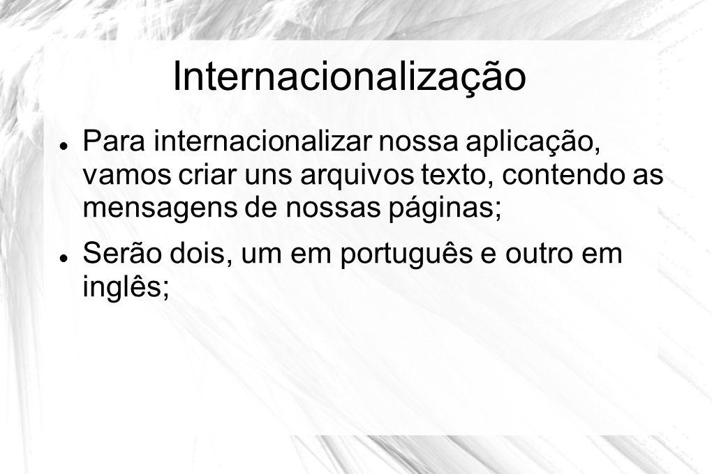 Internacionalização  Para internacionalizar nossa aplicação, vamos criar uns arquivos texto, contendo as mensagens de nossas páginas;  Serão dois, u