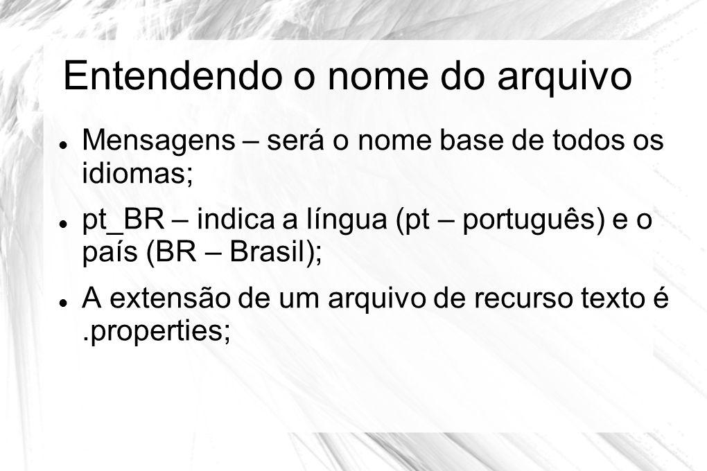Entendendo o nome do arquivo  Mensagens – será o nome base de todos os idiomas;  pt_BR – indica a língua (pt – português) e o país (BR – Brasil); 