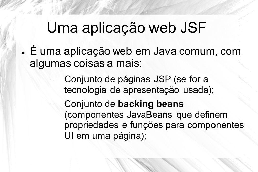 Uma aplicação web JSF  É uma aplicação web em Java comum, com algumas coisas a mais:  Conjunto de páginas JSP (se for a tecnologia de apresentação u