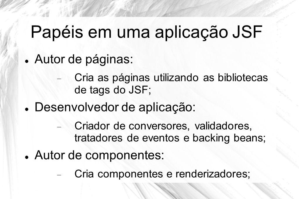Papéis em uma aplicação JSF  Autor de páginas:  Cria as páginas utilizando as bibliotecas de tags do JSF;  Desenvolvedor de aplicação:  Criador de