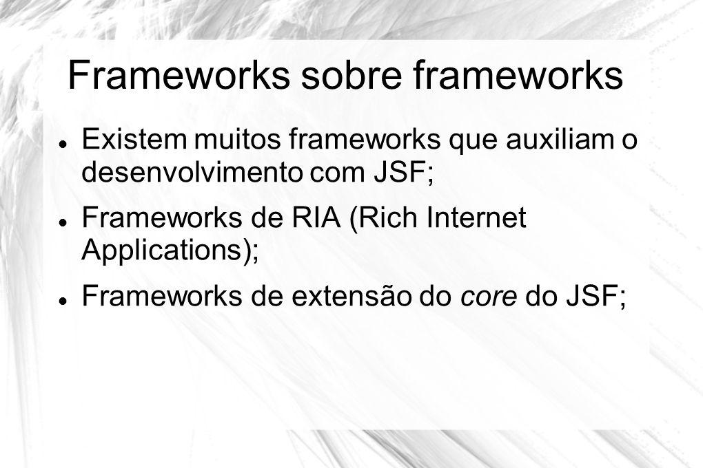 Frameworks sobre frameworks  Existem muitos frameworks que auxiliam o desenvolvimento com JSF;  Frameworks de RIA (Rich Internet Applications);  Fr