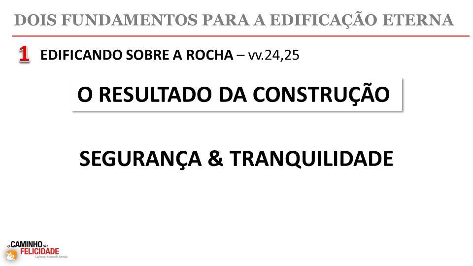 DOIS FUNDAMENTOS PARA A EDIFICAÇÃO ETERNA EDIFICANDO SOBRE A ROCHA – vv.24,25 O RESULTADO DA CONSTRUÇÃO SEGURANÇA & TRANQUILIDADE