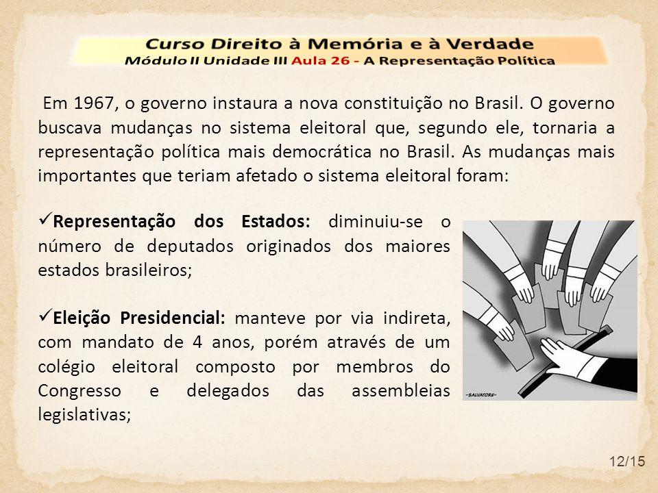 12/15 Em 1967, o governo instaura a nova constituição no Brasil. O governo buscava mudanças no sistema eleitoral que, segundo ele, tornaria a represen