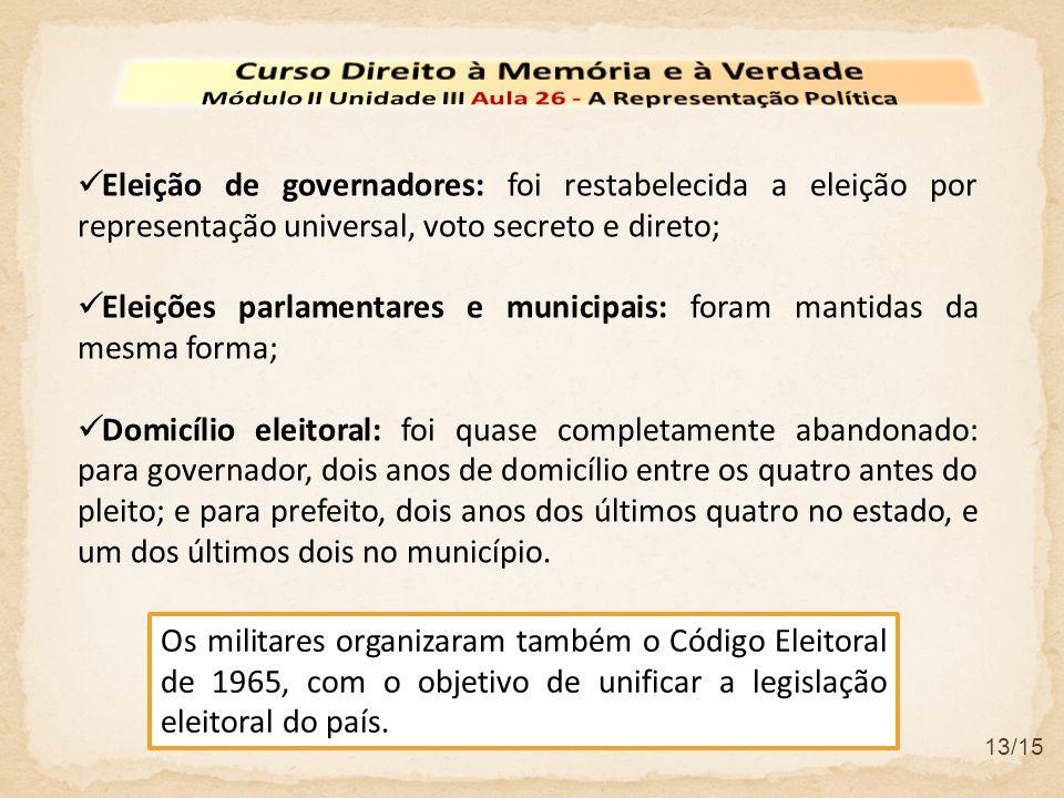 13/15  Eleição de governadores: foi restabelecida a eleição por representação universal, voto secreto e direto;  Eleições parlamentares e municipais
