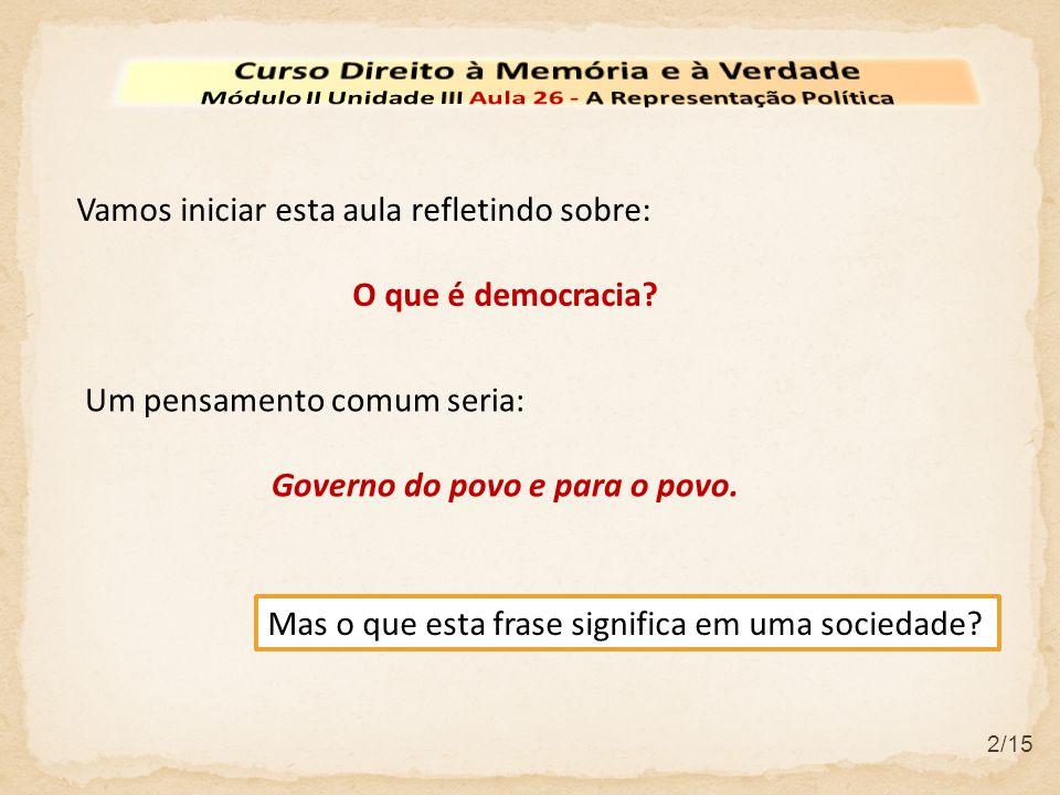 2/15 Vamos iniciar esta aula refletindo sobre: O que é democracia? Um pensamento comum seria: Governo do povo e para o povo. Mas o que esta frase sign