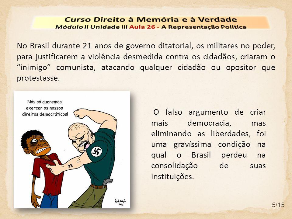 6/15 Alguns setores conservadores ou cidadãos pouco informados acreditam que, pelo fato da ditadura militar no Brasil ter permitido eleições, se vivia num ambiente democrático.