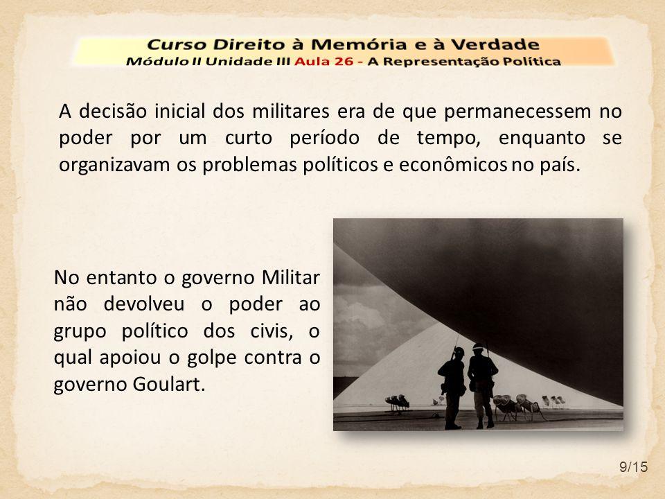 9/15 A decisão inicial dos militares era de que permanecessem no poder por um curto período de tempo, enquanto se organizavam os problemas políticos e