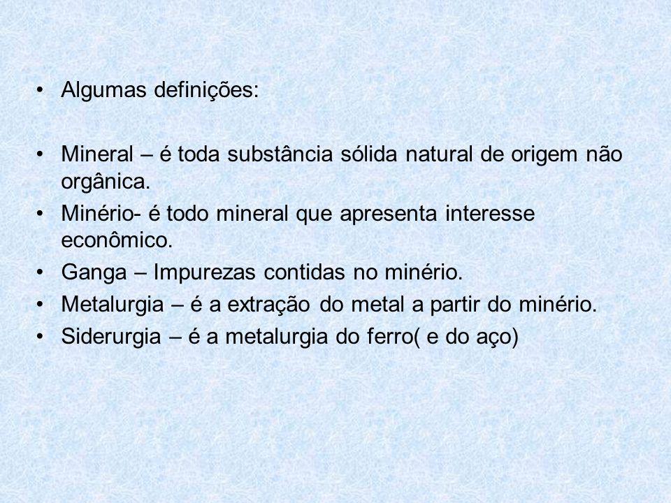 Processos metalúrgicos •Ustulação – é a metalurgia a partir dos sulfetos metálicos, que são aquecidos na presença de oxigênio.