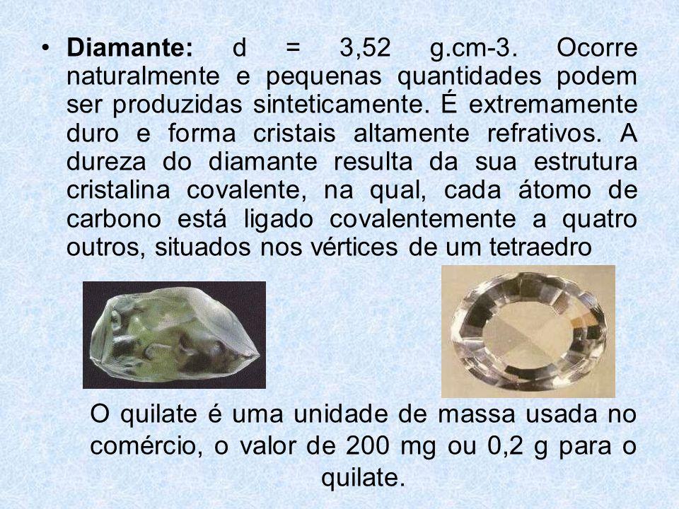 •Diamante: d = 3,52 g.cm-3.