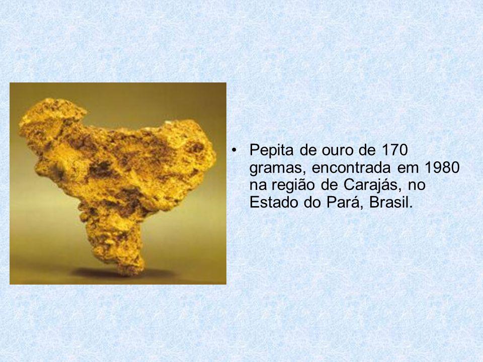 •Pepita de ouro de 170 gramas, encontrada em 1980 na região de Carajás, no Estado do Pará, Brasil.