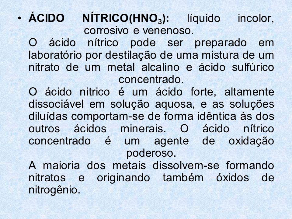 •ÁCIDO NÍTRICO(HNO 3 ): líquido incolor, corrosivo e venenoso.