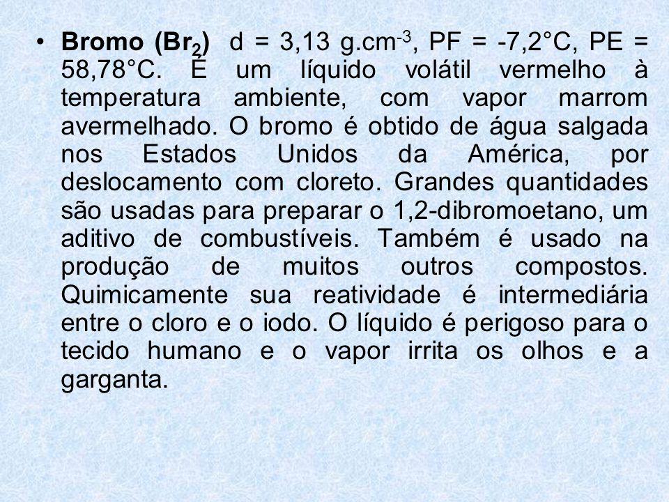 •Bromo (Br 2 ) d = 3,13 g.cm -3, PF = -7,2°C, PE = 58,78°C.