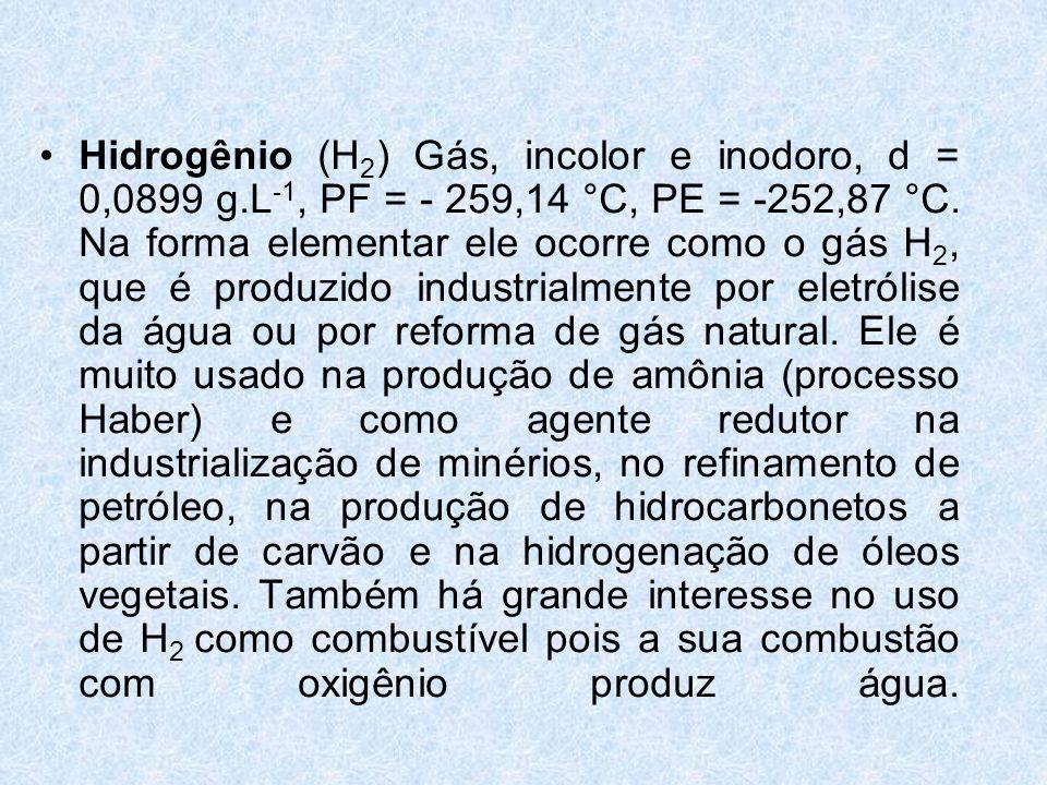 •Hidrogênio (H 2 ) Gás, incolor e inodoro, d = 0,0899 g.L -1, PF = - 259,14 °C, PE = -252,87 °C.