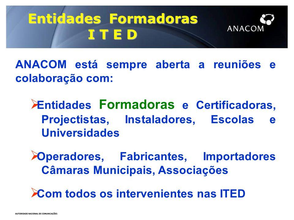 Entidades Formadoras I T E D ANACOM está sempre aberta a reuniões e colaboração com:  Entidades Formadoras e Certificadoras, …Projectistas, Instalado
