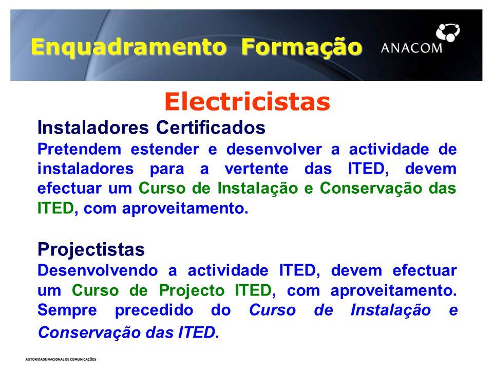 Enquadramento Formação Electricistas Instaladores Certificados Pretendem estender e desenvolver a actividade de instaladores para a vertente das ITED,