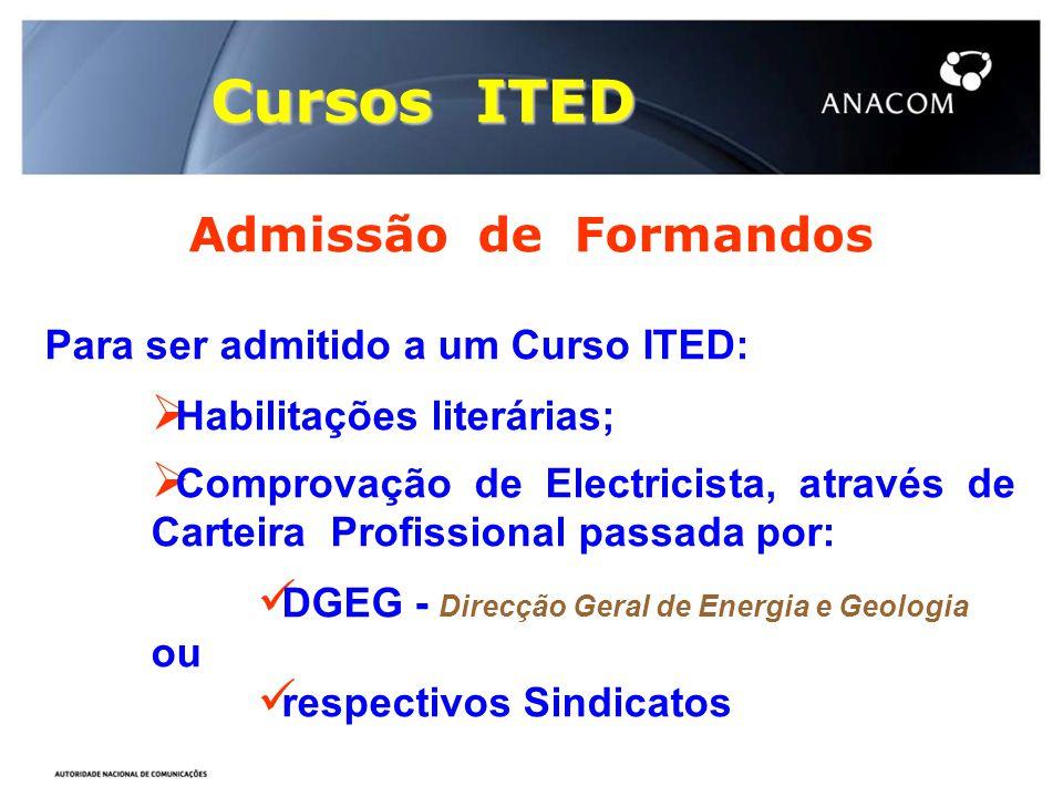 Cursos ITED Admissão de Formandos Para ser admitido a um Curso ITED:  Habilitações literárias;  Comprovação de Electricista, através de Carteira Pro