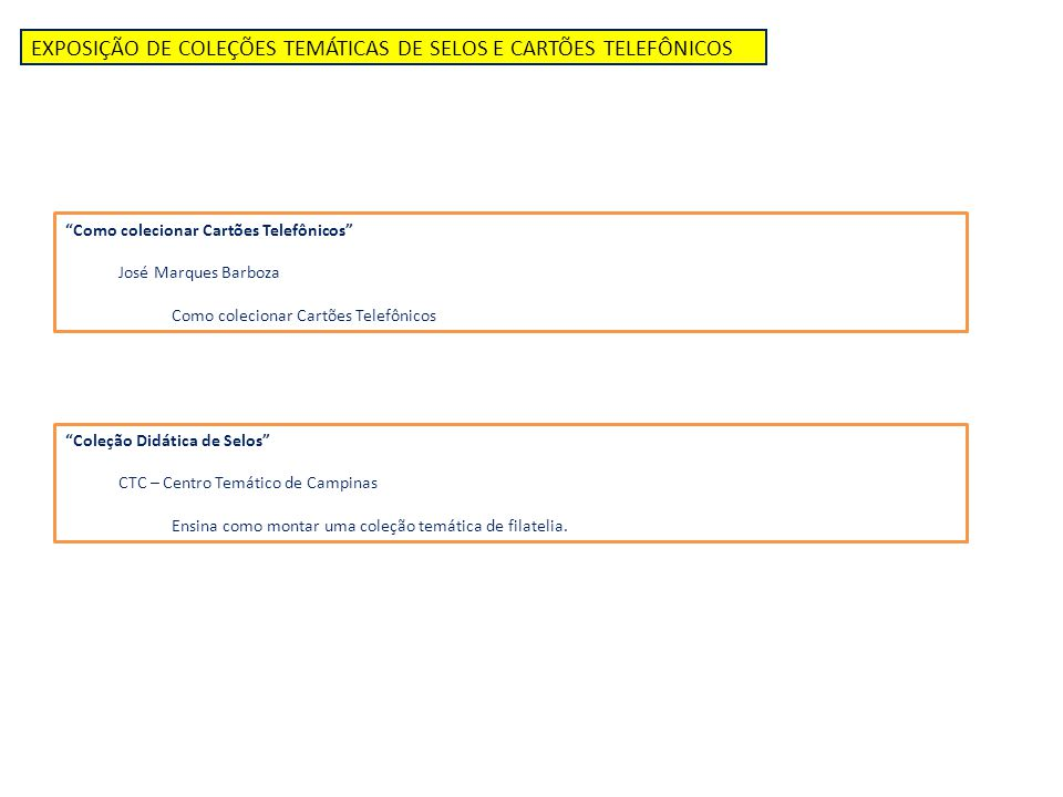 """EXPOSIÇÃO DE COLEÇÕES TEMÁTICAS DE SELOS E CARTÕES TELEFÔNICOS """"Como colecionar Cartões Telefônicos"""" José Marques Barboza Como colecionar Cartões Tele"""