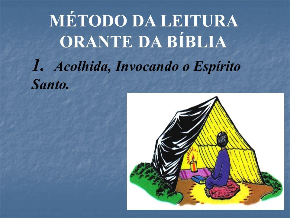 MÉTODO DA LEITURA ORANTE DA BÍBLIA 1. Acolhida, Invocando o Espírito Santo.