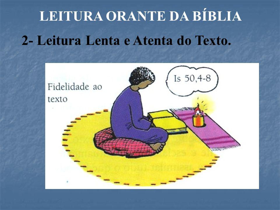 LEITURA ORANTE DA BÍBLIA 2- Leitura Lenta e Atenta do Texto.