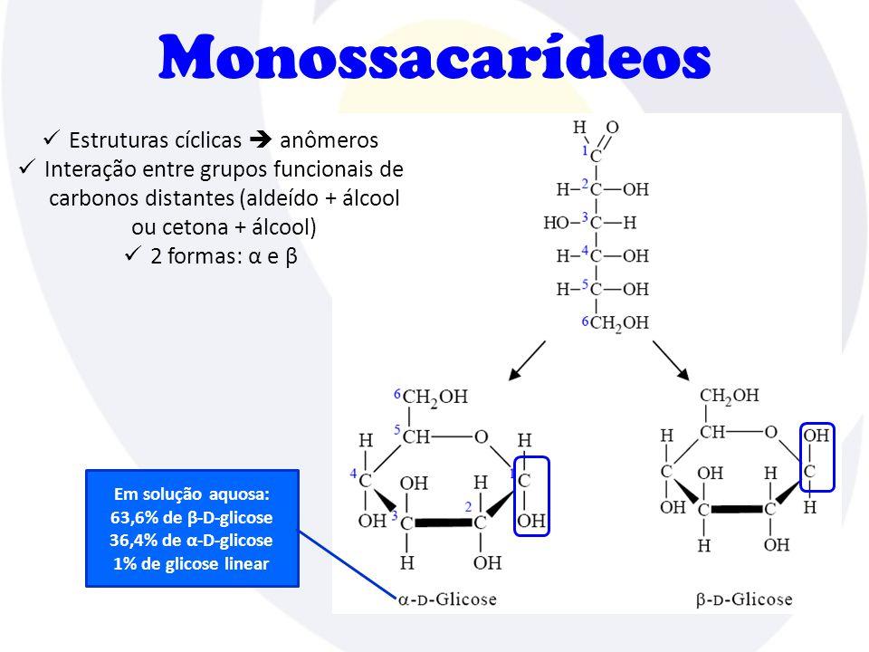Monossacarídeos  Estruturas cíclicas  anômeros  Interação entre grupos funcionais de carbonos distantes (aldeído + álcool ou cetona + álcool)  2 formas: α e β Em solução aquosa: 63,6% de β-D-glicose 36,4% de α-D-glicose 1% de glicose linear