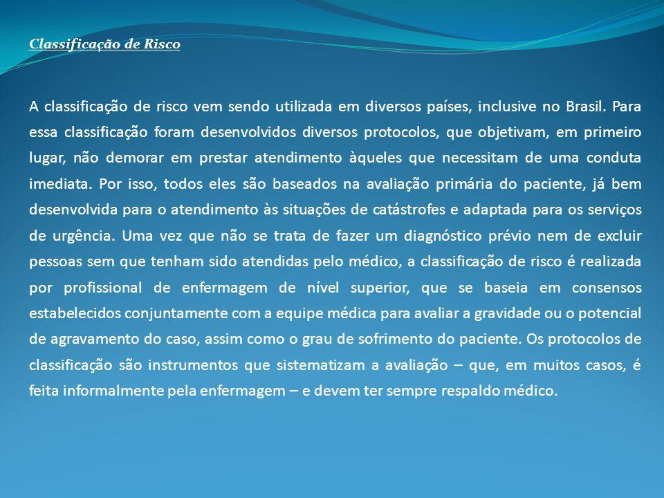 Classificação de Risco A classificação de risco vem sendo utilizada em diversos países, inclusive no Brasil. Para essa classificação foram desenvolvid