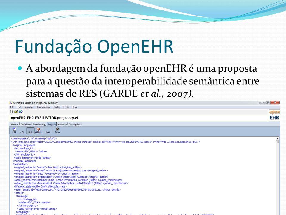 Fundação OpenEHR  A abordagem da fundação openEHR é uma proposta para a questão da interoperabilidade semântica entre sistemas de RES (GARDE et al.,