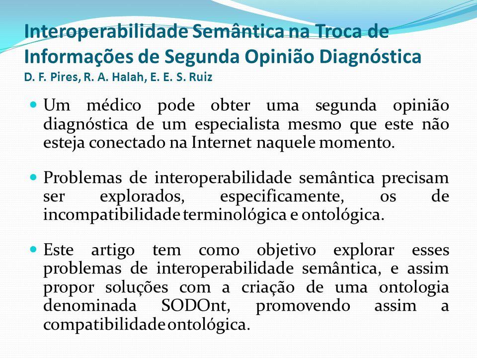 Interoperabilidade Semântica na Troca de Informações de Segunda Opinião Diagnóstica D. F. Pires, R. A. Halah, E. E. S. Ruiz  Um médico pode obter uma