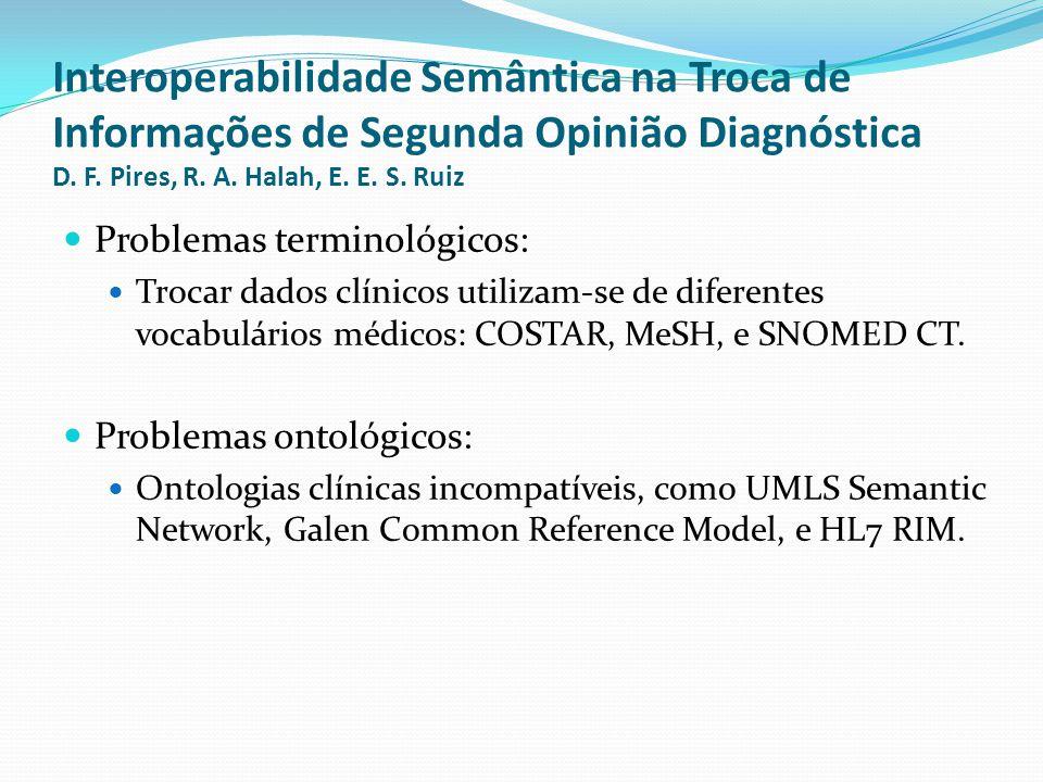 Interoperabilidade Semântica na Troca de Informações de Segunda Opinião Diagnóstica D. F. Pires, R. A. Halah, E. E. S. Ruiz  Problemas terminológicos