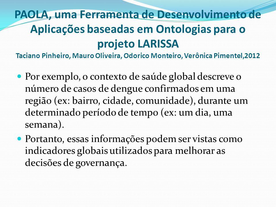PAOLA, uma Ferramenta de Desenvolvimento de Aplicações baseadas em Ontologias para o projeto LARISSA Taciano Pinheiro, Mauro Oliveira, Odorico Monteir