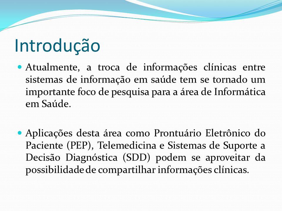 Introdução  Atualmente, a troca de informações clínicas entre sistemas de informação em saúde tem se tornado um importante foco de pesquisa para a área de Informática em Saúde.