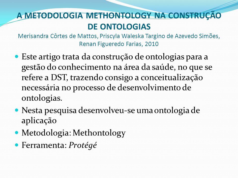 A METODOLOGIA METHONTOLOGY NA CONSTRUÇÃO DE ONTOLOGIAS Merisandra Côrtes de Mattos, Priscyla Waleska Targino de Azevedo Simões, Renan Figueredo Farias, 2010  Este artigo trata da construção de ontologias para a gestão do conhecimento na área da saúde, no que se refere a DST, trazendo consigo a conceitualização necessária no processo de desenvolvimento de ontologias.