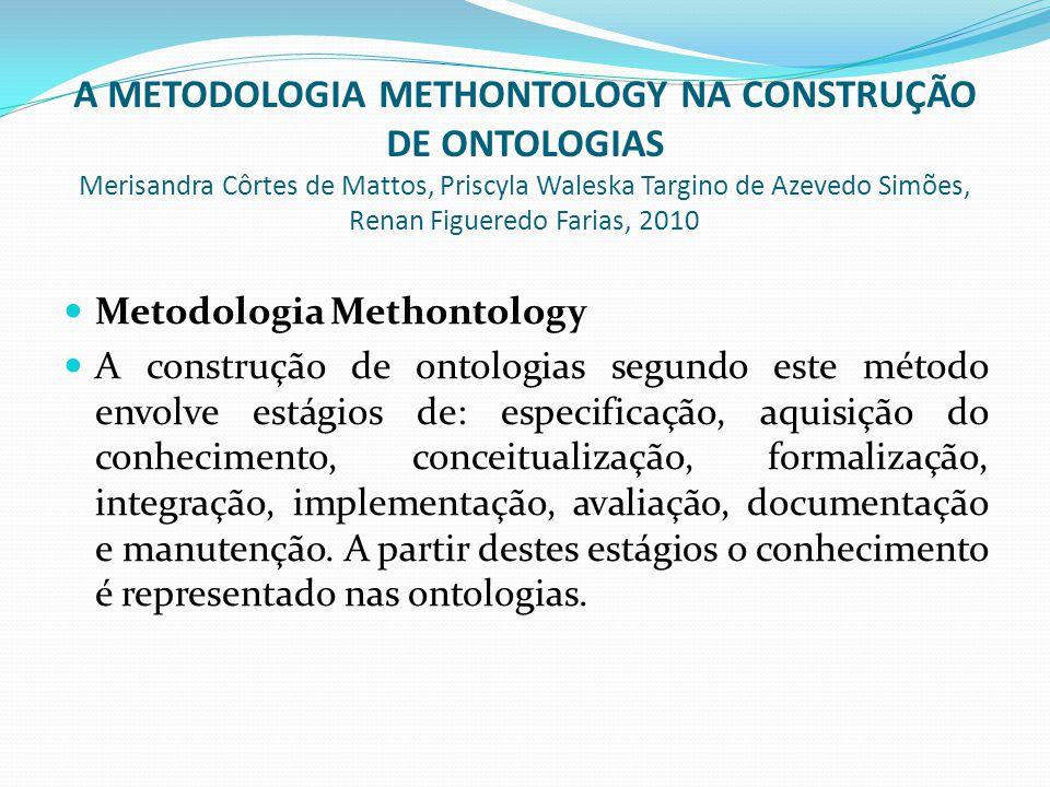  Metodologia Methontology  A construção de ontologias segundo este método envolve estágios de: especificação, aquisição do conhecimento, conceitualização, formalização, integração, implementação, avaliação, documentação e manutenção.