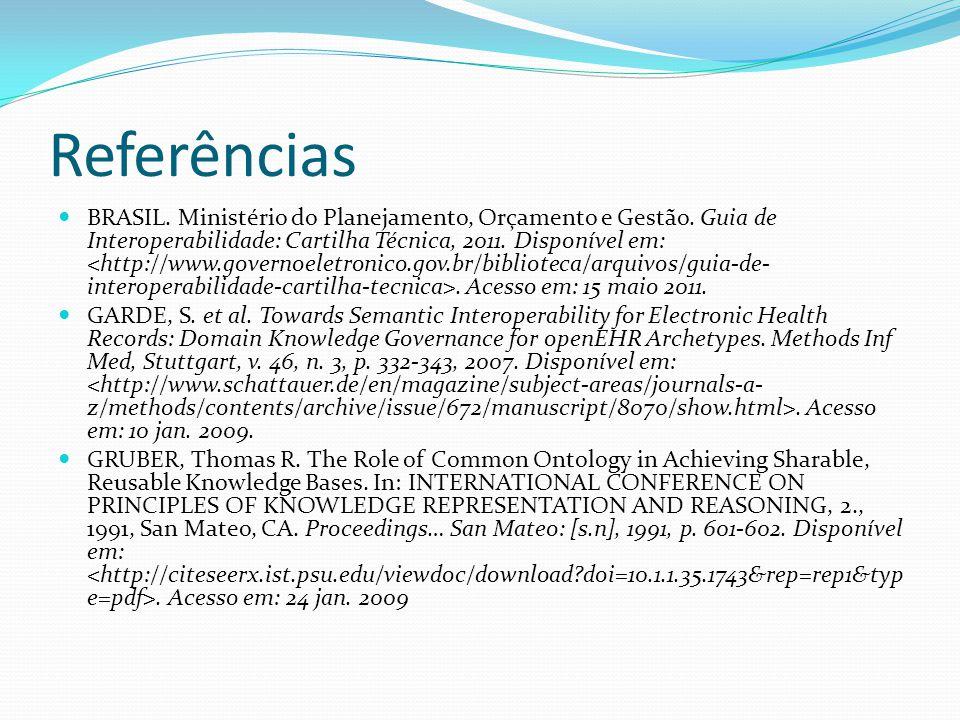 Referências  BRASIL. Ministério do Planejamento, Orçamento e Gestão. Guia de Interoperabilidade: Cartilha Técnica, 2011. Disponível em:. Acesso em: 1
