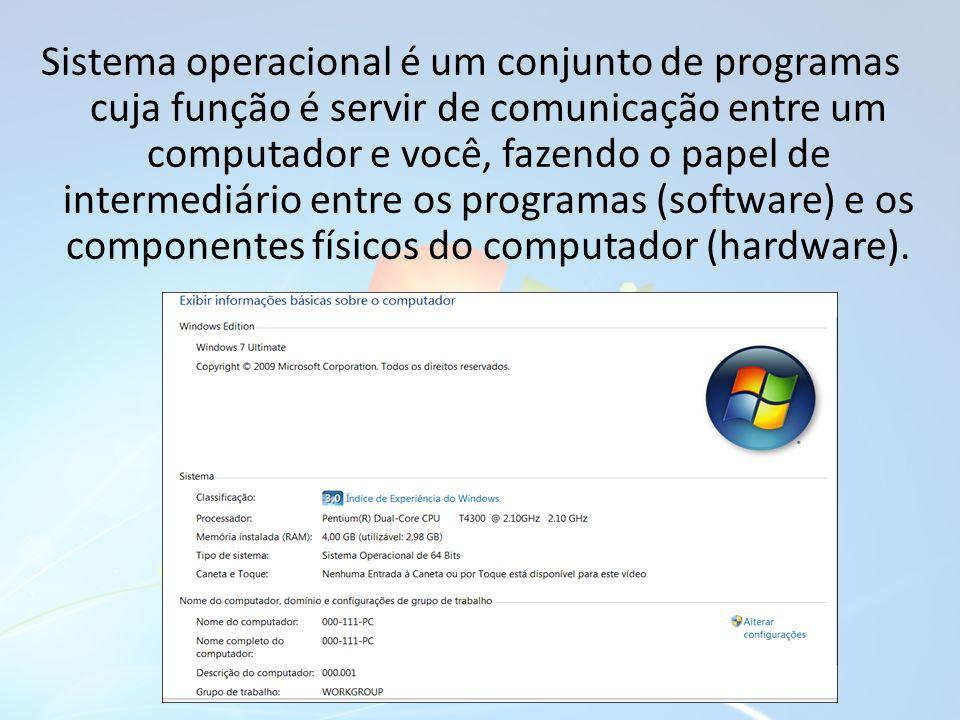 Sistema operacional é um conjunto de programas cuja função é servir de comunicação entre um computador e você, fazendo o papel de intermediário entre os programas (software) e os componentes físicos do computador (hardware).