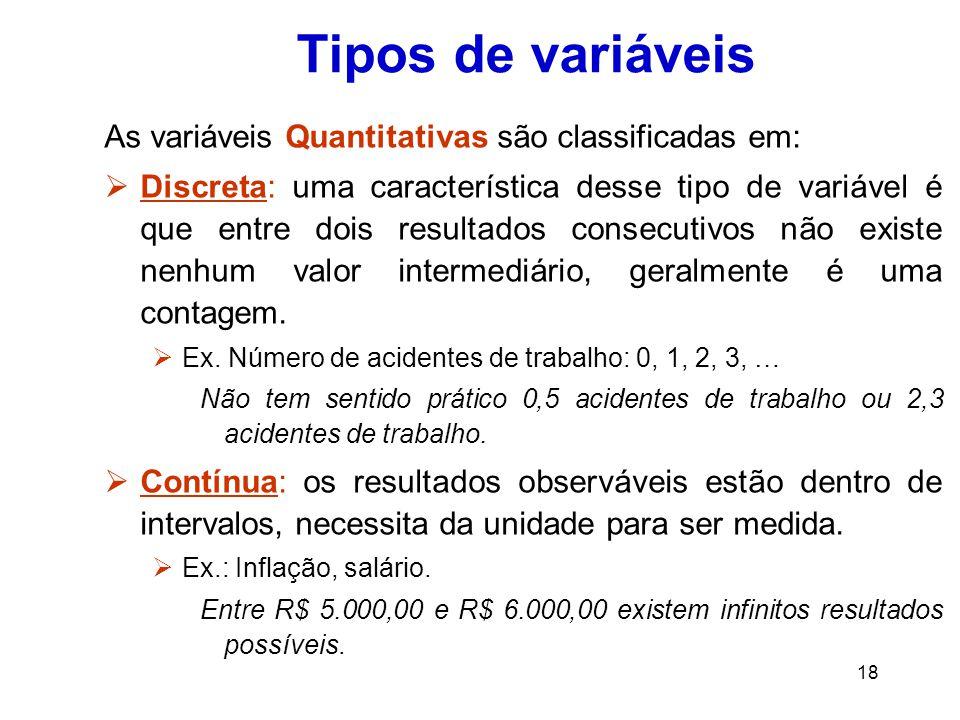 18 Tipos de variáveis As variáveis Quantitativas são classificadas em:  Discreta: uma característica desse tipo de variável é que entre dois resultados consecutivos não existe nenhum valor intermediário, geralmente é uma contagem.