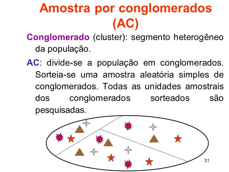 31 Amostra por conglomerados (AC) Conglomerado (cluster): segmento heterogêneo da população.