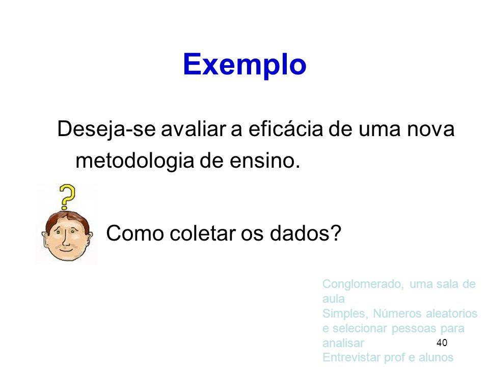 40 Exemplo Deseja-se avaliar a eficácia de uma nova metodologia de ensino.
