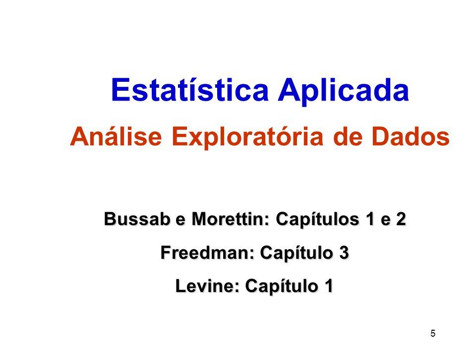 5 Estatística Aplicada Análise Exploratória de Dados Bussab e Morettin: Capítulos 1 e 2 Freedman: Capítulo 3 Levine: Capítulo 1