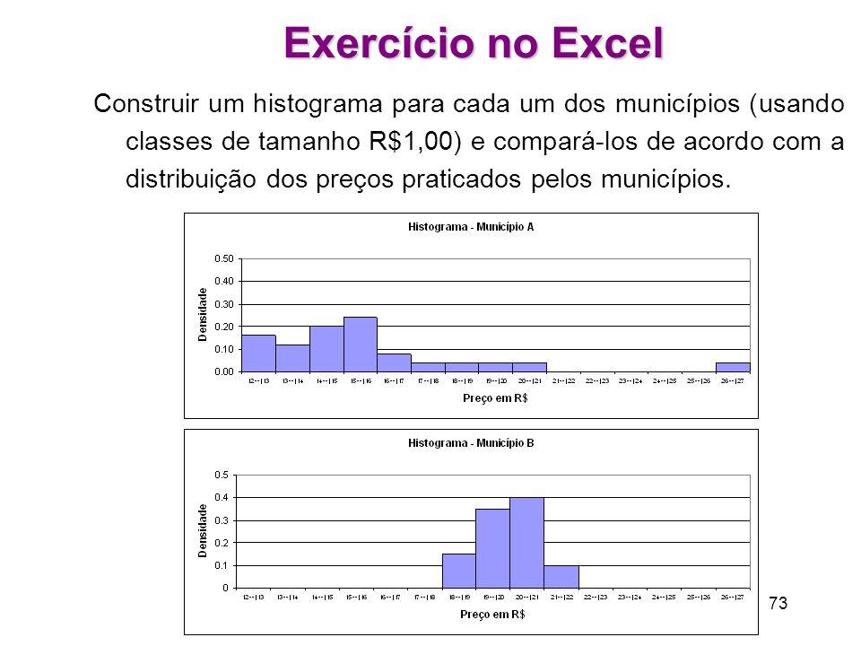 73 Exercício no Excel Construir um histograma para cada um dos municípios (usando classes de tamanho R$1,00) e compará-los de acordo com a distribuição dos preços praticados pelos municípios.