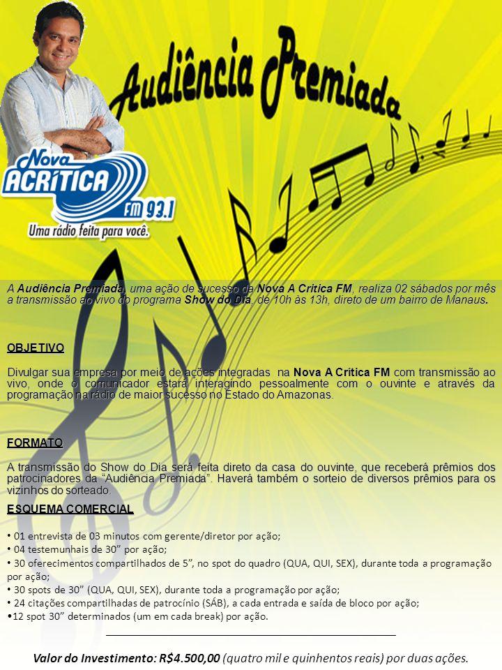 A Audiência Premiada, uma ação de sucesso da Nova A Critica FM, realiza 02 sábados por mês a transmissão ao vivo do programa Show do Dia, de 10h às 13
