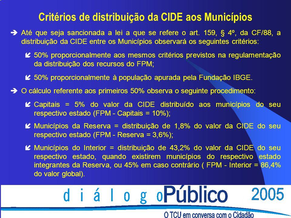 Critérios de distribuição da CIDE aos Municípios èAté que seja sancionada a lei a que se refere o art. 159, § 4º, da CF/88, a distribuição da CIDE ent