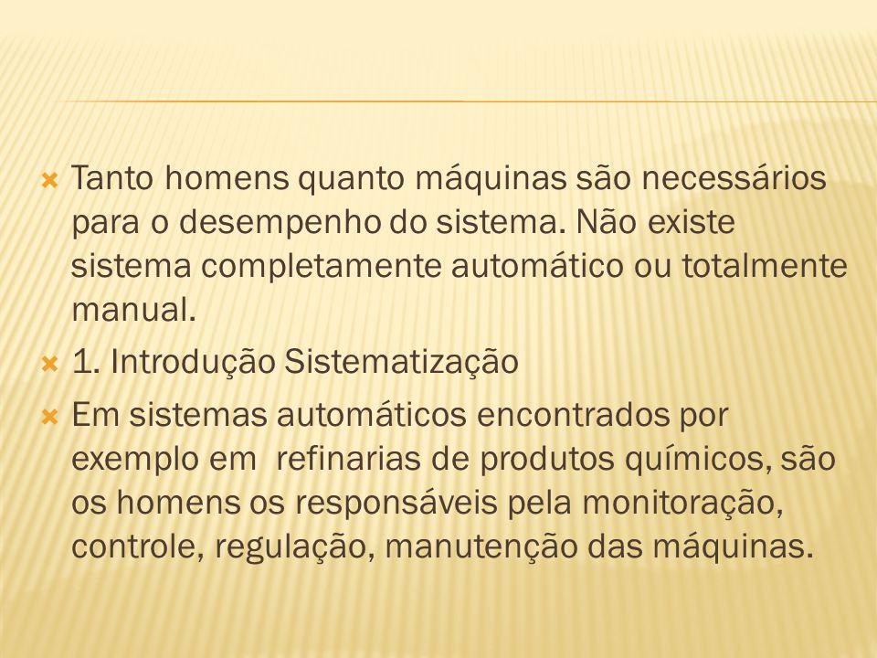  Tanto homens quanto máquinas são necessários para o desempenho do sistema.