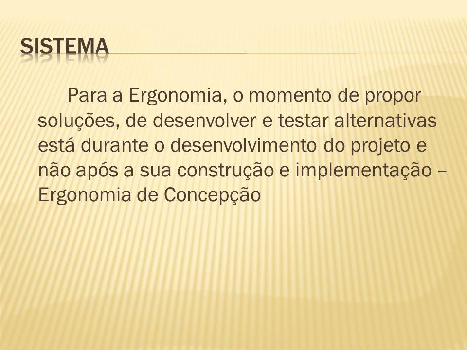 Para a Ergonomia, o momento de propor soluções, de desenvolver e testar alternativas está durante o desenvolvimento do projeto e não após a sua construção e implementação – Ergonomia de Concepção