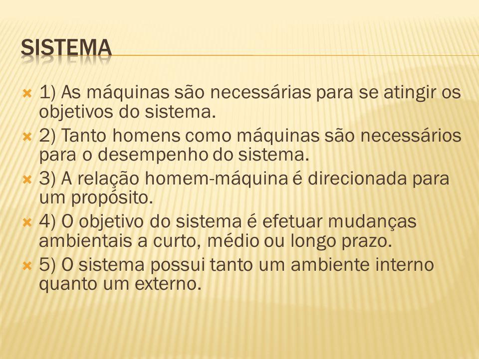  1) As máquinas são necessárias para se atingir os objetivos do sistema.