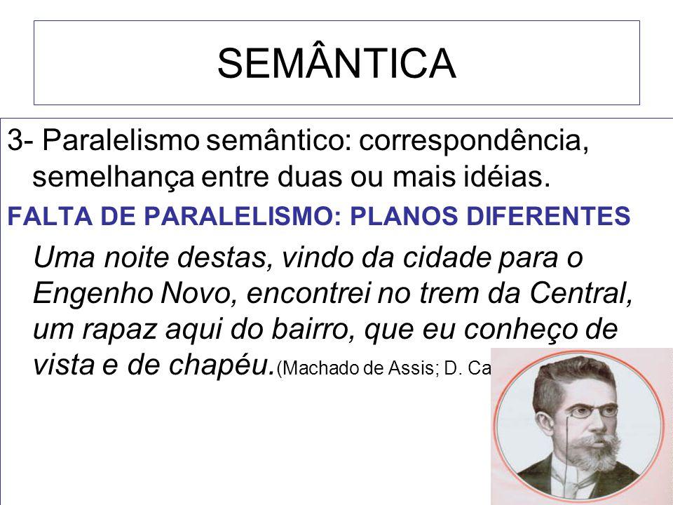 SEMÂNTICA 3- Paralelismo semântico: correspondência, semelhança entre duas ou mais idéias. FALTA DE PARALELISMO: PLANOS DIFERENTES Uma noite destas, v