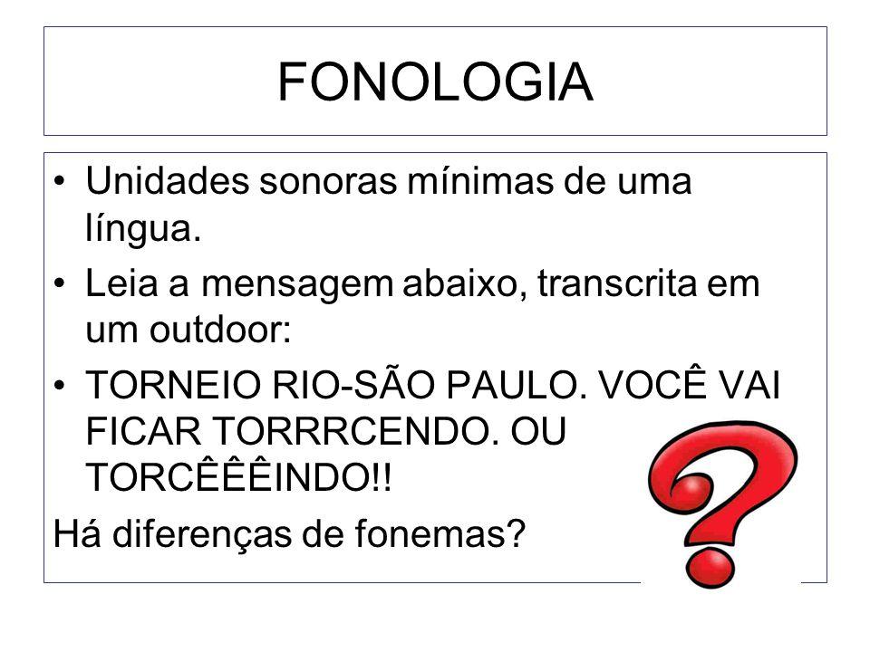 FONOLOGIA •Unidades sonoras mínimas de uma língua. •Leia a mensagem abaixo, transcrita em um outdoor: •TORNEIO RIO-SÃO PAULO. VOCÊ VAI FICAR TORRRCEND