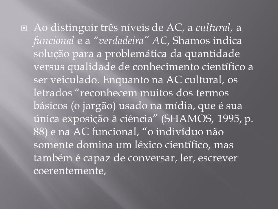 """ Ao distinguir três níveis de AC, a cultural, a funcional e a """"verdadeira"""" AC, Shamos indica solução para a problemática da quantidade versus qualida"""