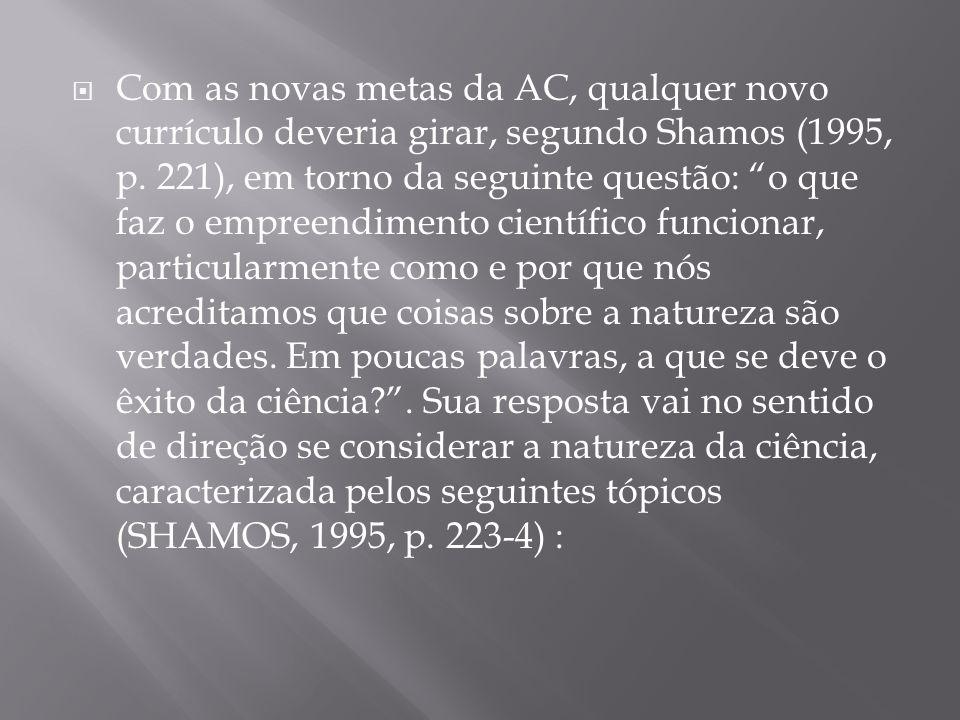 """ Com as novas metas da AC, qualquer novo currículo deveria girar, segundo Shamos (1995, p. 221), em torno da seguinte questão: """"o que faz o empreendi"""